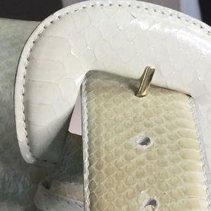 Genuine Snakeskin signed belt in buff ivory blush